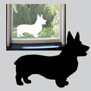 Statisch hechtende raamsticker van een hondje Corgy