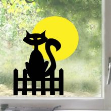 Raamsticker Kat bij volle maan vb