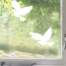 Raamsticker Vliegende duif wit
