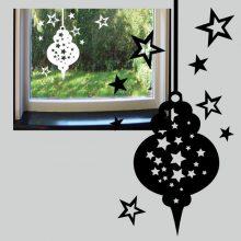 Raamsticker Kerstbal met sterren
