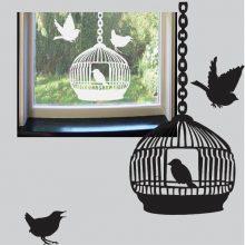 Raamsticker Vogelkooi met vogels