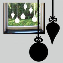 Raamstickers 6 Kerstballen