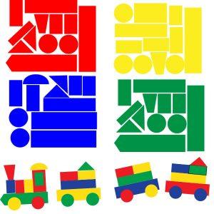 Raamstickers Blokken trein