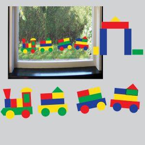 Stickervel met statisch hechtende blokken in 4 kleuren