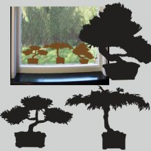 Raamstickers Bonsai Trio
