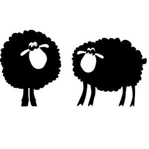 2 verschillende statisch hechtende schaapjes