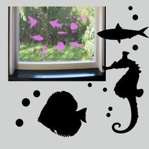 Stickervel met 9 statisch hechtende vissen