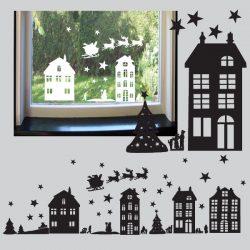 Statisch hechtende raamstickers Kerst met huisjes en figuurtjes