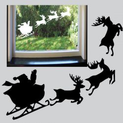 Statisch hechtende raamstickers van Kerstman met slee