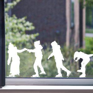 Raamstickers schaatsende kids