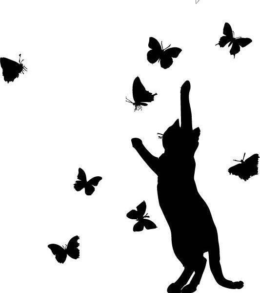 Raamsticker Kat met Vlinders
