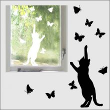 Raamstickers Kat met vlinders