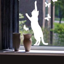 Raamsticker Kat met vlinders vb