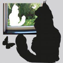 Raamfolie is statisch hechtend van een grote langharige kat.